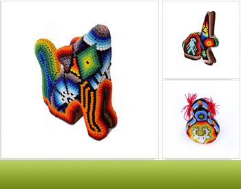 60f6df64425e Arte Popular Mexicano - Accesorios realizados con chaquiras por la  comunidad huichol. Memoria cultural hecha objeto