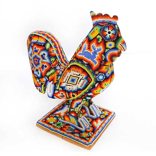 Gallo con chaquiras - Arte Huichol