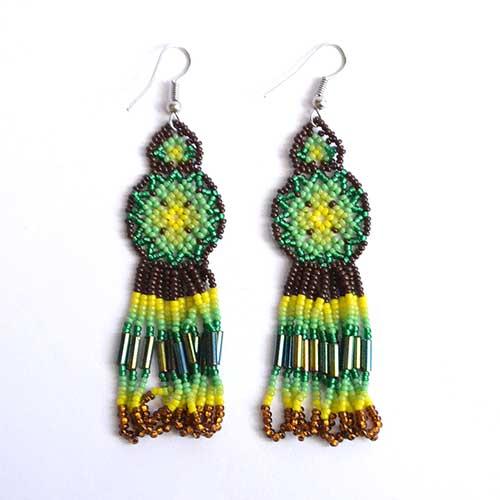 Mexican Jewelry Round earrings Huichol Earrings Huichol art Medallion earrings Native american earrings Mexican earrings AR-0409
